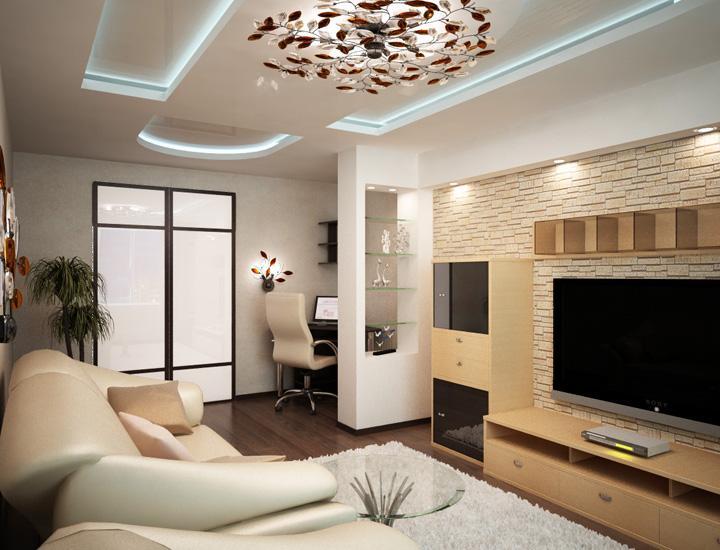 Дизайн зала 24 кв. м